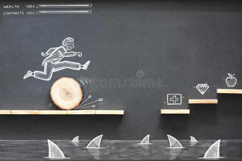 Career Planning and Business Challenge Concept. With Hand Drawn Chalk Illustrations on Blackboard stock images