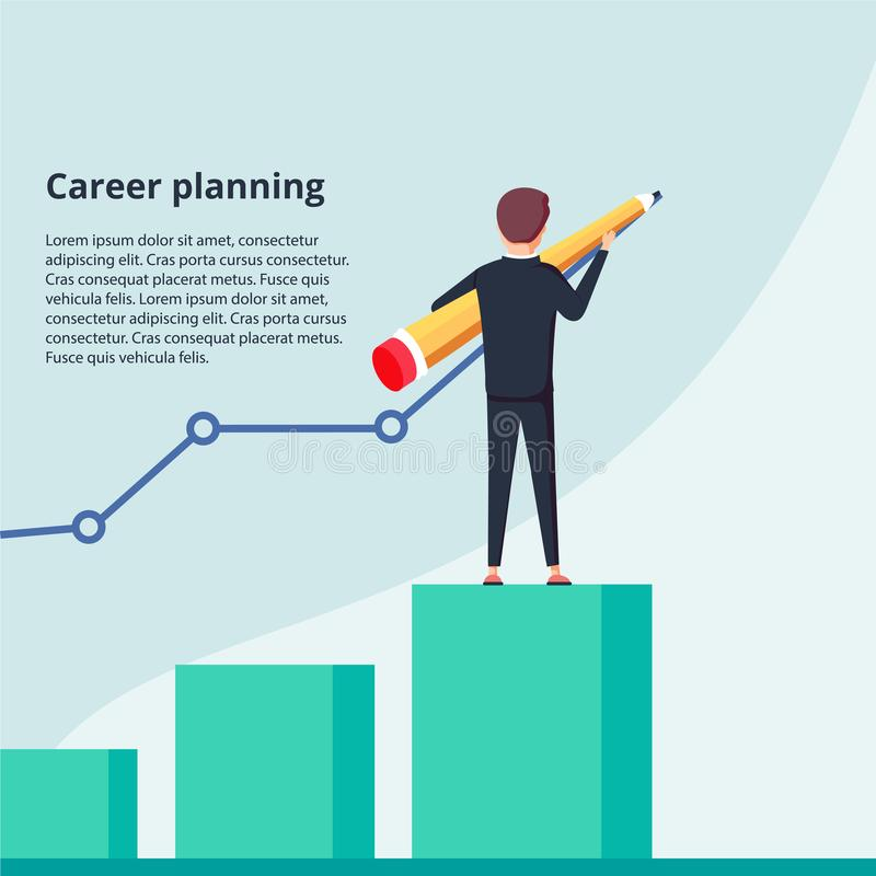Career planning. Businessman draws graph of growth standing at stairs steps. Concept of career growth. stock illustration