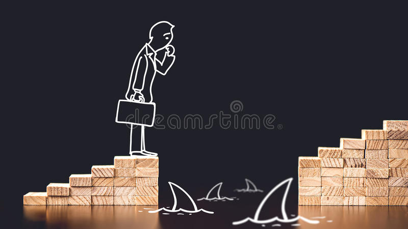 Career Planning Concept. Businessman Having Trouble To Go On The stock images