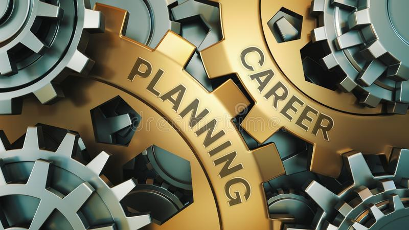 CAREER PLANNING concept. Gold and silver gear wheel background illustration. 3d render stock photography