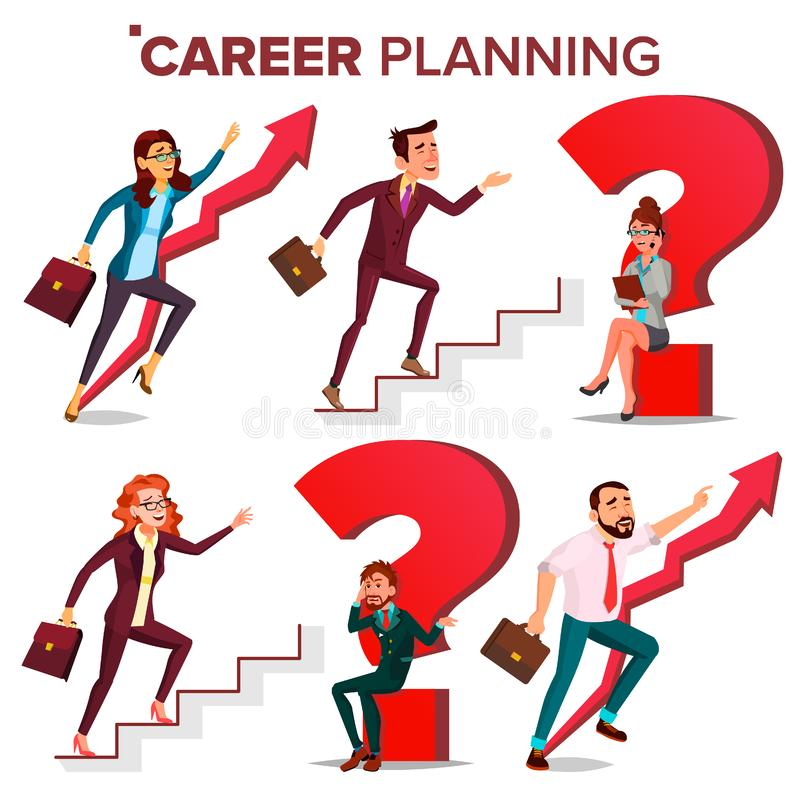 Career Planning Vector. HR Concept. Find New Job. Huge Red Question Mark. Fast Career Growth. Job Success Concept stock illustration