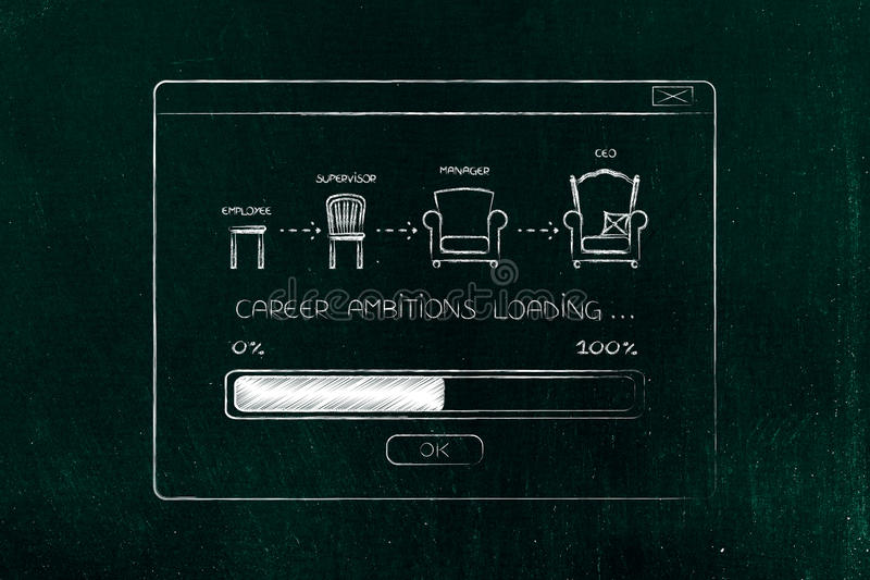 career progression from eomployee to ceo with progress bar loading in pop-up message stock photo