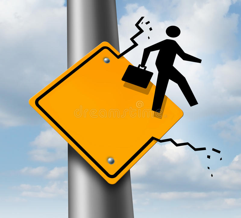 Career Promotion. Business concept as a metaphor for employment aspirations as an icon of a businessman breaking out of a yellow traffic road sign as an vector illustration