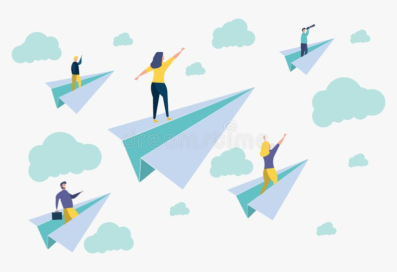 Career success, office workers flying on paper planes. Achieve success and goals in business. Career success, office workers flying on paper planes. Colorful royalty free illustration