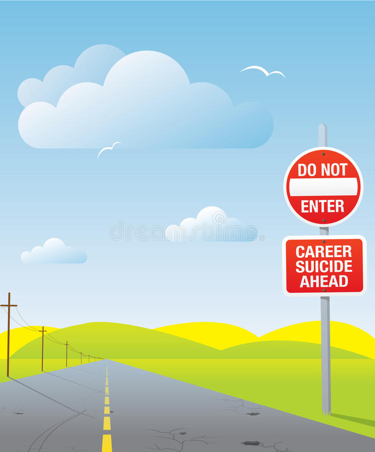 Career suicide. Conceptual road sign stock illustration