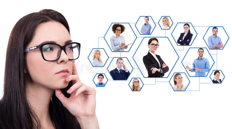 career and team work concept - close up portrait of business woman in eyeglasses dreaming about something isolated on white stock image