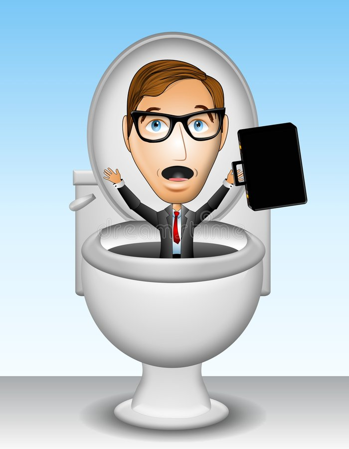 Career In The Toilet. An illustration featuring a businessman being flushed down the toilet to represent the loss of job or career