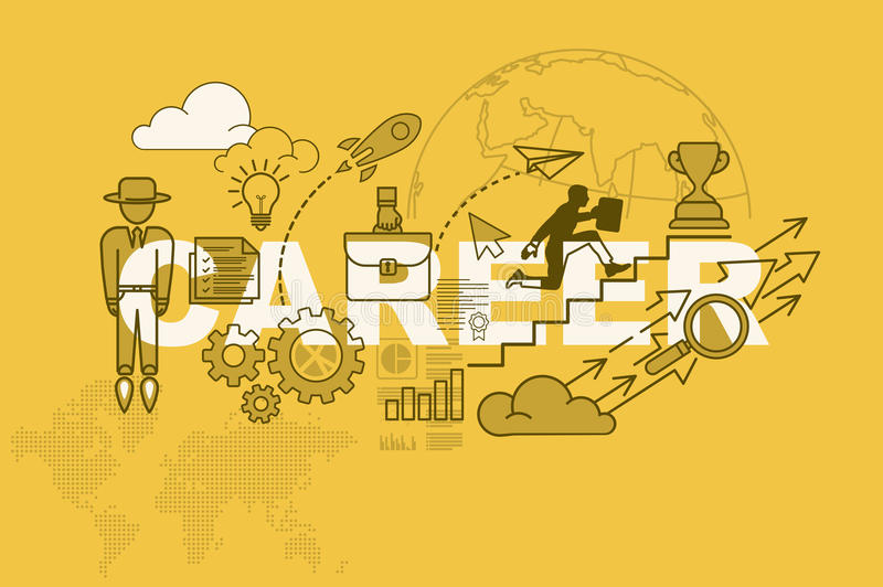 Career website banner concept with thin line flat design. Vector illustration eps-10 royalty free illustration