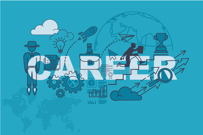 Career website banner concept with thin line flat design stock illustration