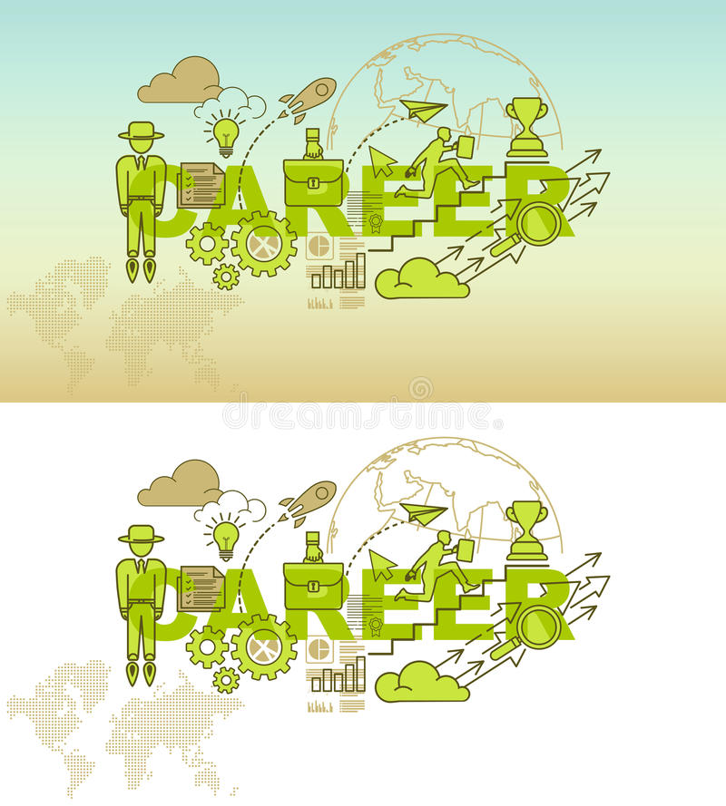 Career website banner concept with thin line flat design vector illustration