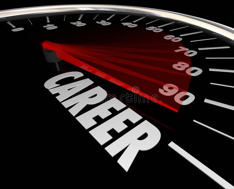 Career Word Speedometer Advancement Job Promotion Work. Career word on a speedometer to illustrate advancement from one job to another through a promotion or royalty free illustration
