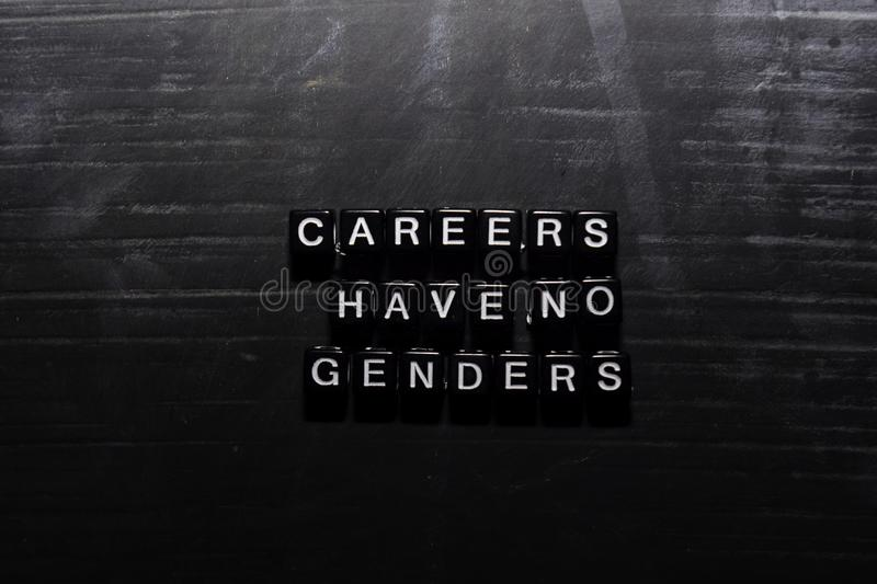 Careers have no genders on wooden blocks. Education, Motivation and inspiration concept stock illustration
