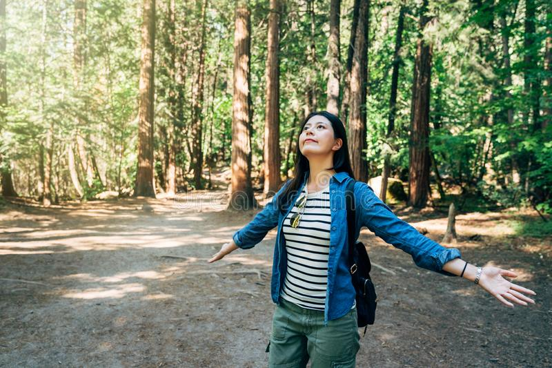 Carefree cheering woman in summer forest park stock images