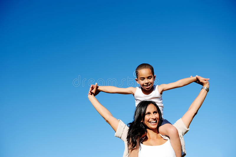 Carefree family outdoor stock photography
