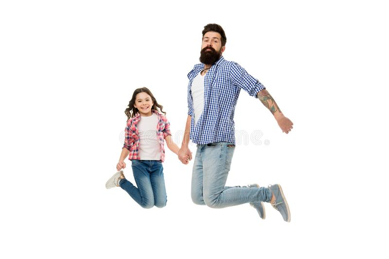 Carefree and happy. Going crazy together. Father and daughter having fun. Child and father best friends. Parenthood and stock images