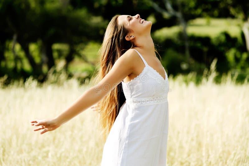 Carefree happy woman stock photo