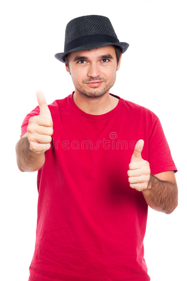 Carefree man gesturing thumbs up royalty free stock photos