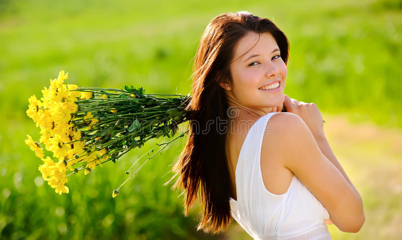 Carefree spring girl royalty free stock photography