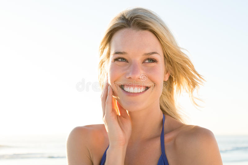 Carefree woman at beach royalty free stock photography