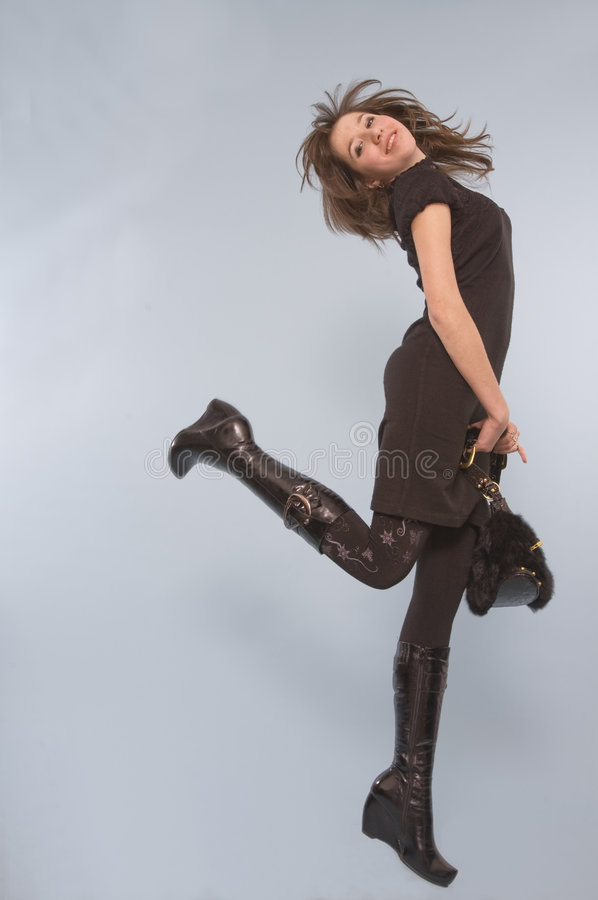 Download Carefree woman in black stock photo. Image of attractive - 8059686