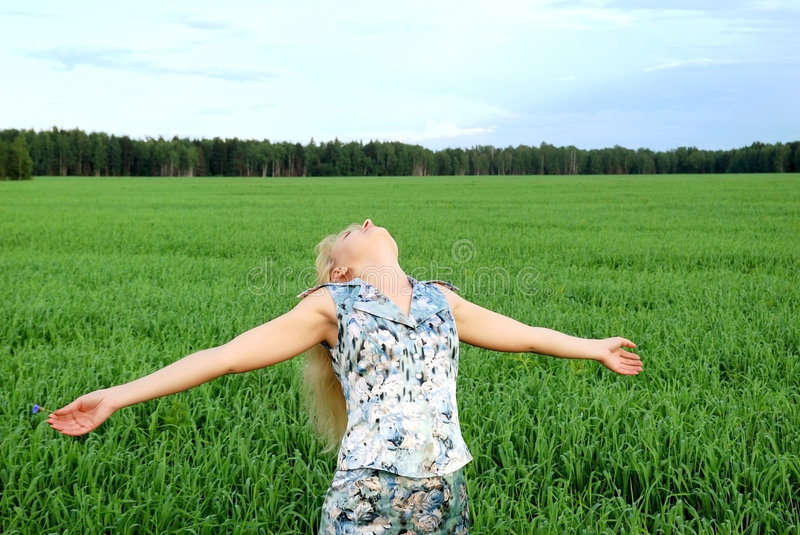 Download Carefree Woman In Green Field Stock Image - Image: 5896187
