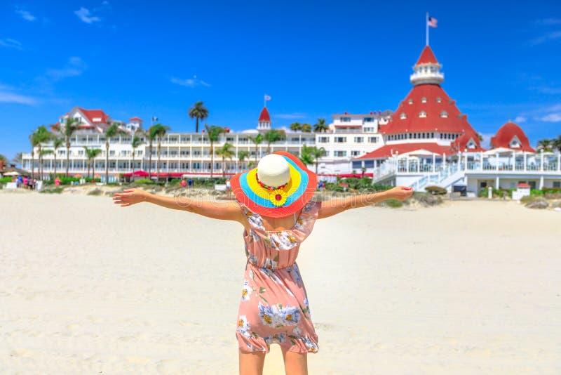Tourist woman San Diego Beach royalty free stock image