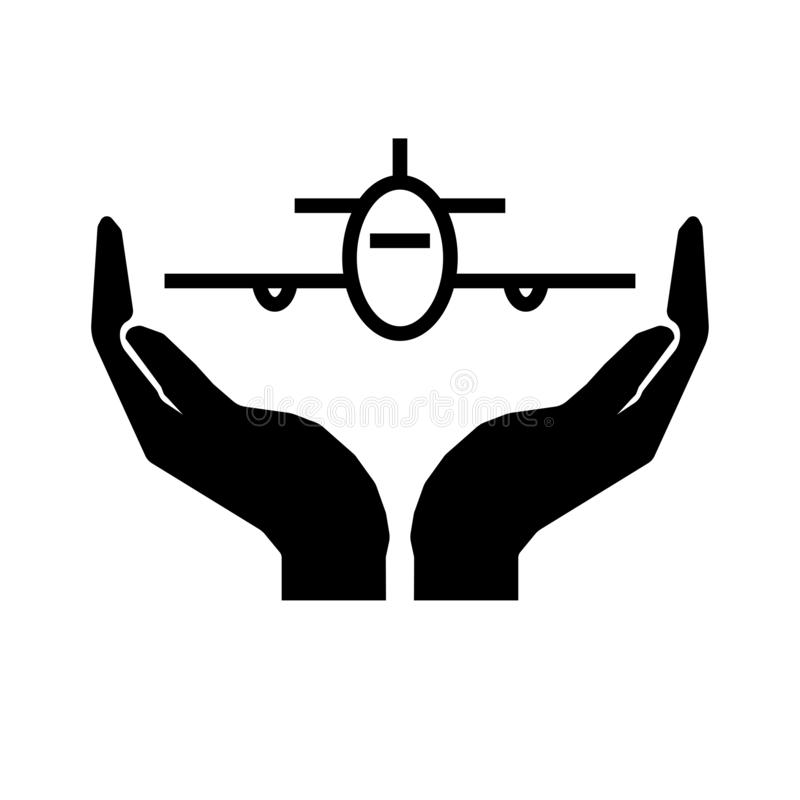 Careful air travel sign. Hands and airplane sign. Eps ten stock illustration