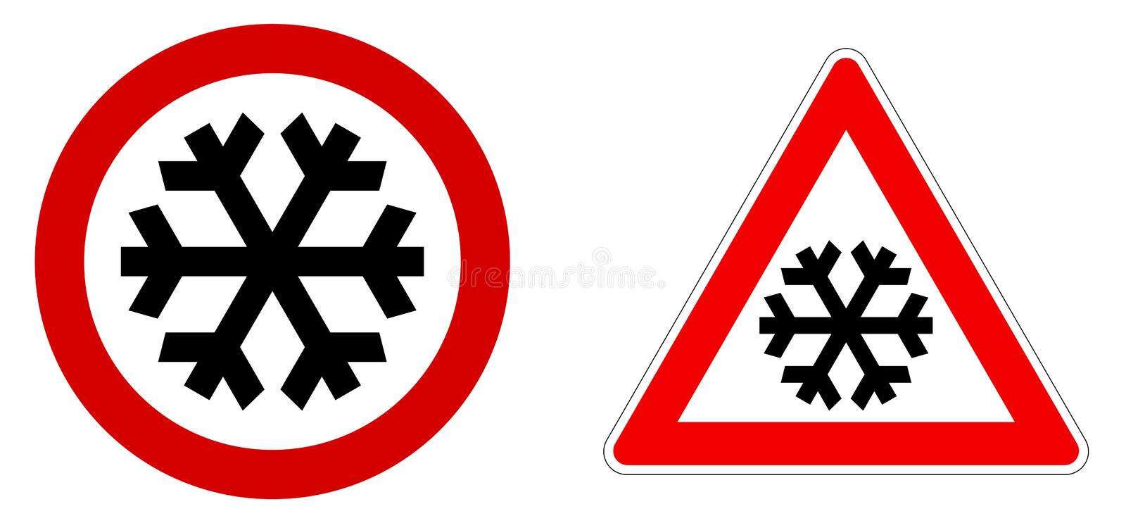 Careful snow / cold / winter sign. Black snowflake in red circle and triangle vector illustration