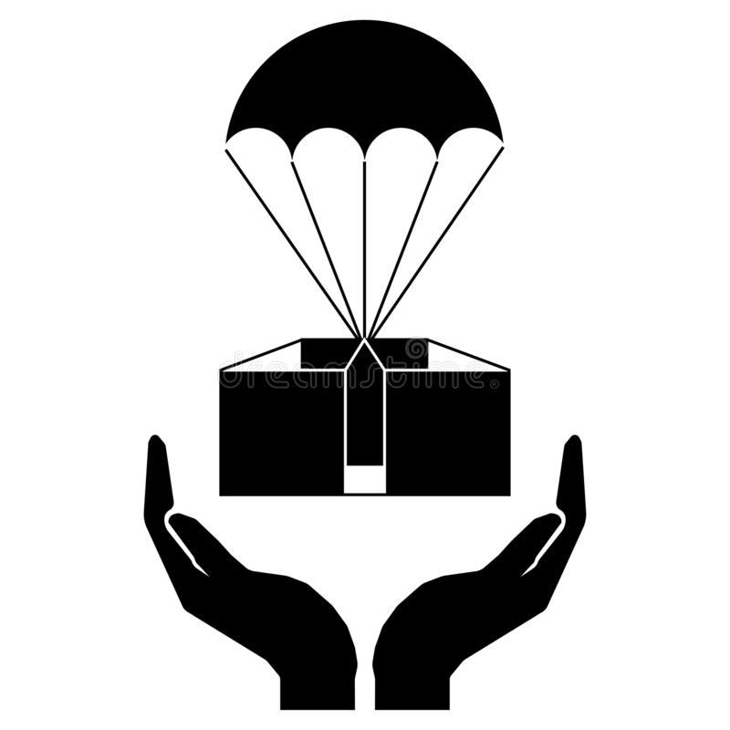 Careful transportation of cargo sign. Hands and parachute with a cargo sign. Thin line stock illustration