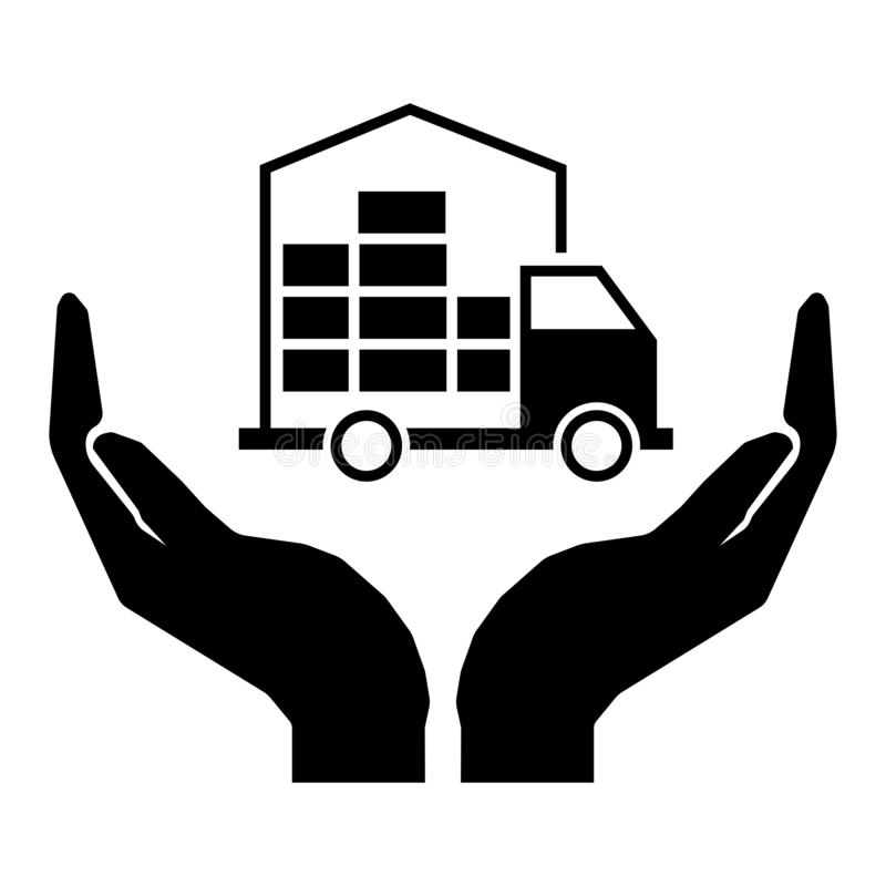 Careful transportation of the cargo sign. Moving home sign. Transportation of things by boxes. Hands and truck carrying things. Black sign stock illustration