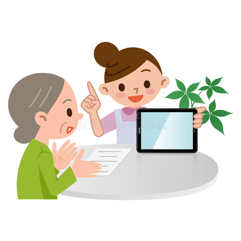Caregiver που περιγράφεται στο PC ταμπλετών απεικόνιση αποθεμάτων
