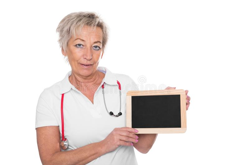 A caregiver with empty board stock photo
