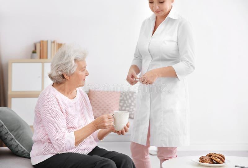 Caregiver giving medicine to senior woman. Caregiver giving medicine to senior women at home royalty free stock image