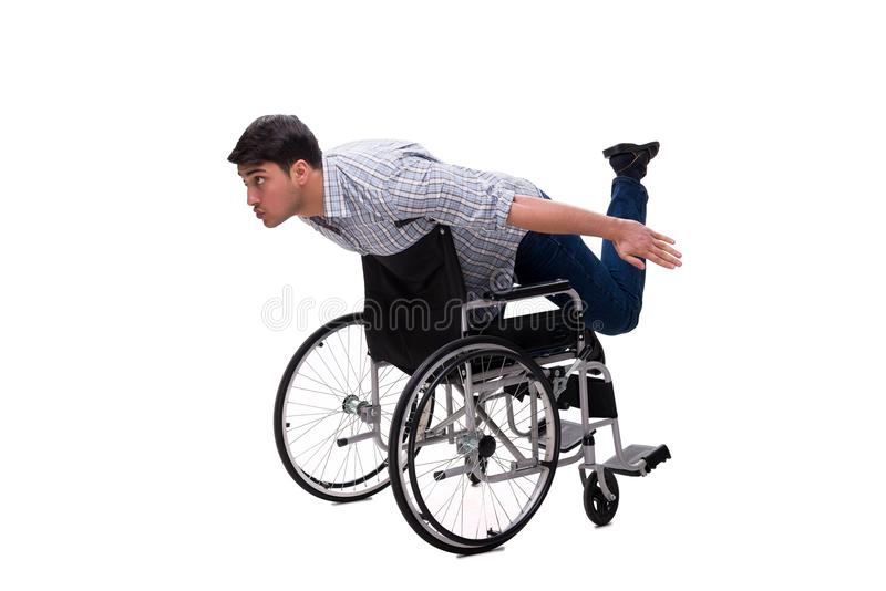 The caregiver with wheelchair isolated on white. Caregiver with wheelchair isolated on white stock photos