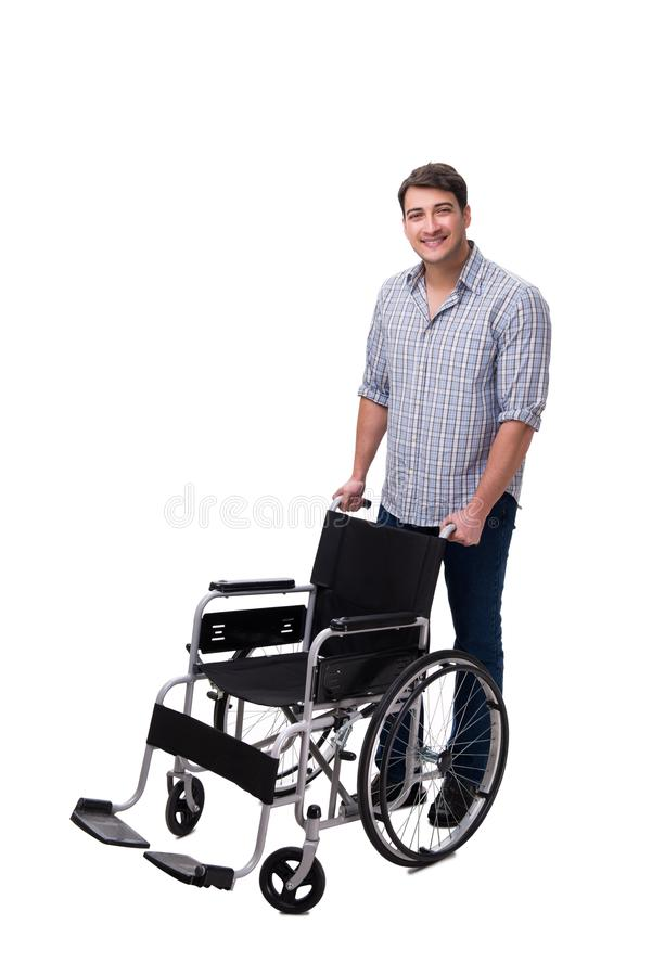 The caregiver with wheelchair isolated on white. Caregiver with wheelchair isolated on white royalty free stock photos