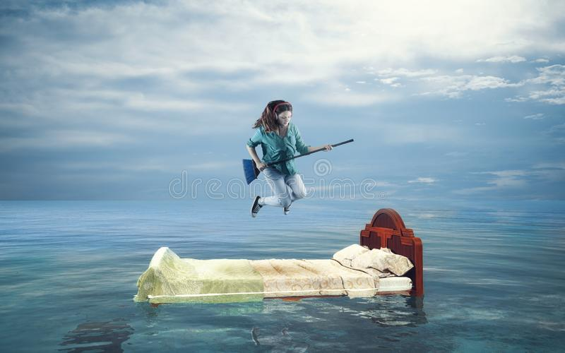 Careless woman in the ocean royalty free stock photos