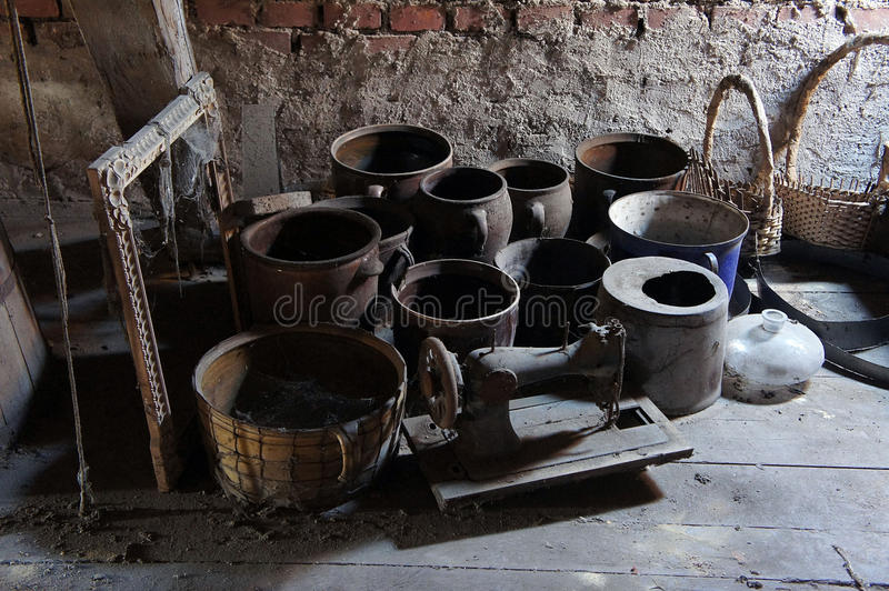 Carelessly stored old things. In the attic royalty free stock photos