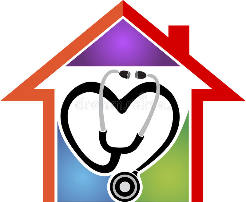 Carelogo de las asistencias sanitarias a domicilio stock de ilustración