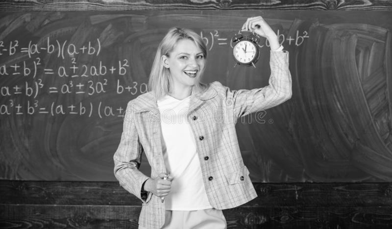 She cares about discipline. Time to study. Welcome teacher school year. Looking committed teacher complement qualified. Workforce educators. Always on time royalty free stock photography