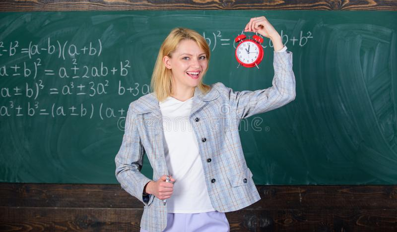 She cares about discipline. Time to study. Welcome teacher school year. Looking committed teacher complement qualified. Workforce educators. Always on time royalty free stock photos