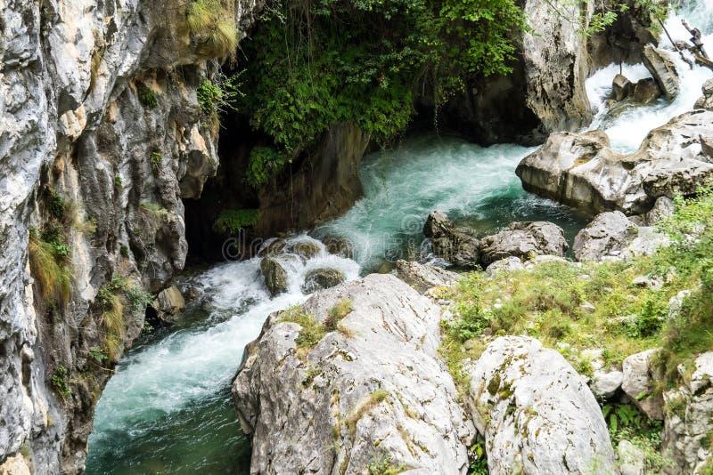 The Cares trail, garganta del cares, in the Picos de Europa Mountains, Spain royalty free stock photos