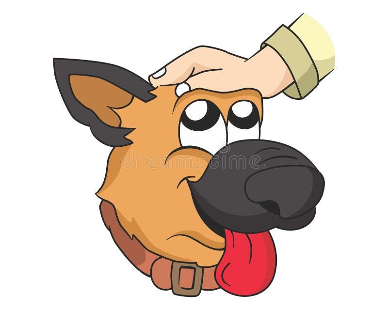 Caress the dog illustration royalty free stock image
