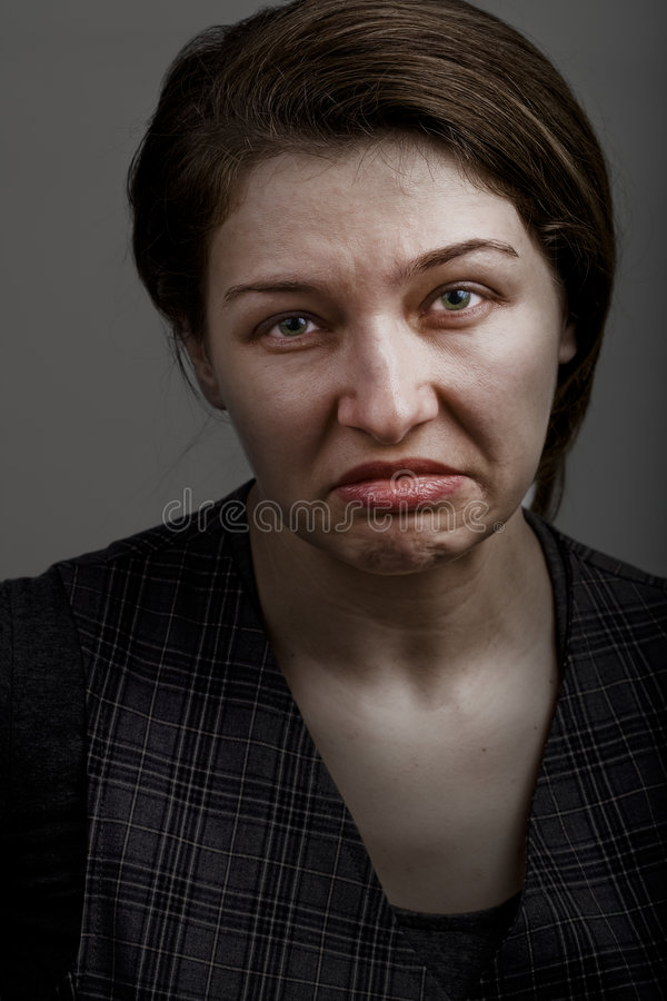 Careta da mulher disappointed triste infeliz foto de stock royalty free