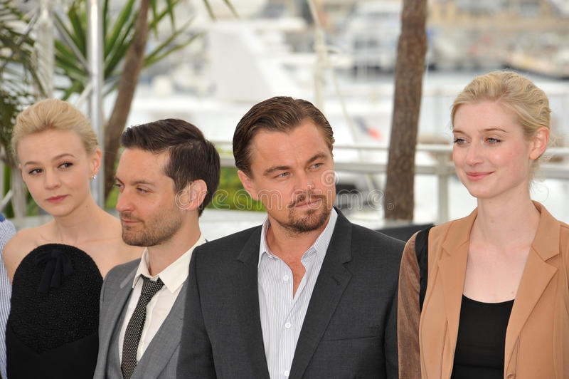 Carey Mulligan, Tobey Maguire, Elizabeth Debicki, Leonardo DiCaprio stock foto's