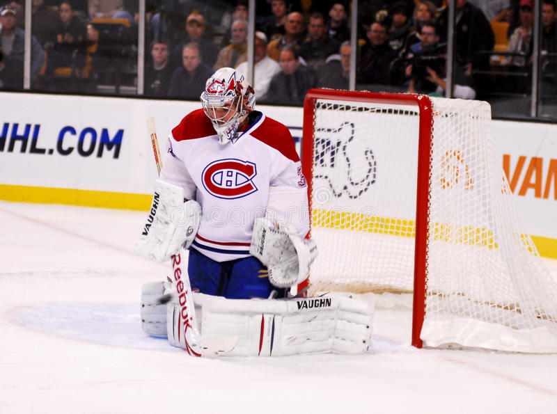 Carey Price makes the save!. Montreal Goaltender Carey Price gets his stick and body in front of an oncoming puck royalty free stock images