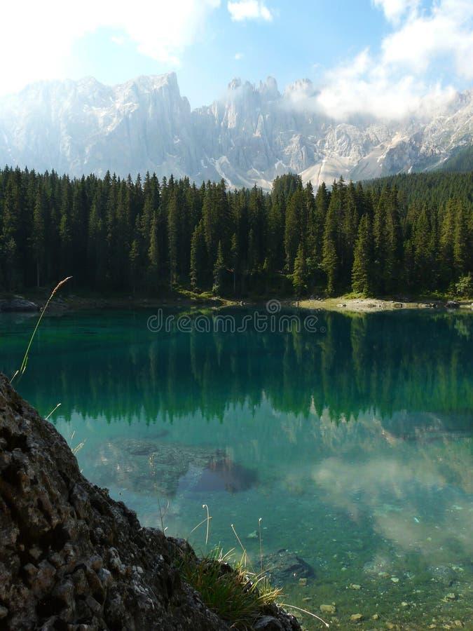 Carezza Lake (Karersee) in the Italian Dolomites stock photo