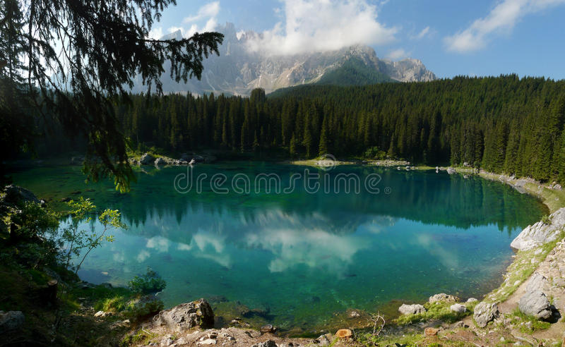 Carezza Lake (Karersee) in the Italian Dolomites royalty free stock photos