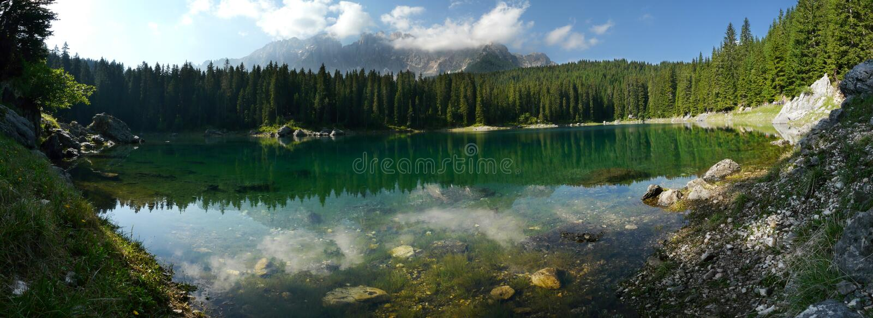 Carezza Lake (Karersee) in the Italian Dolomites stock images