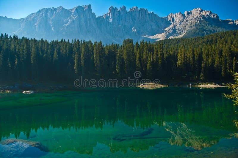 Carezza s lake and mount Latemar