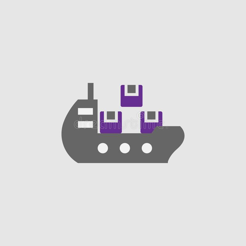 Carga, ícone do navio Elemento do ícone da entrega e da logística para apps móveis do conceito e da Web A carga detalhada, ícone  ilustração royalty free
